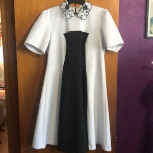 Eloquii embellished collar fit and flare dress